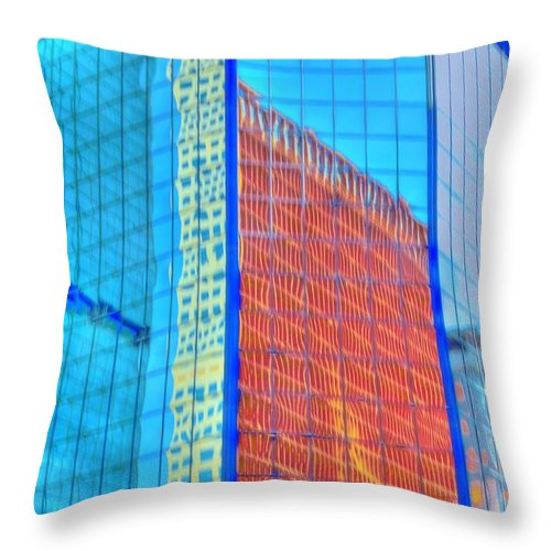 Building Throw Pillow featuring the photograph Glass Reflections by Kathleen Struckle