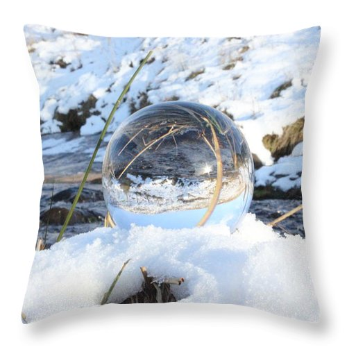 Glass Sphere Throw Pillow featuring the photograph Glass Sphere Snow Landscape by Jonas Hennig