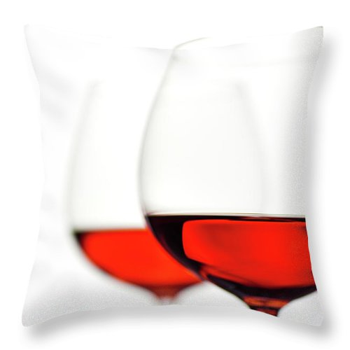 White Background Throw Pillow featuring the photograph Glasses Of Wine by Ineskoleva
