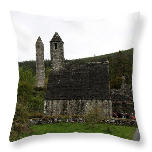 Cloister Throw Pillow featuring the photograph Glendalough Cloister Ruin - Ireland by Christiane Schulze Art And Photography