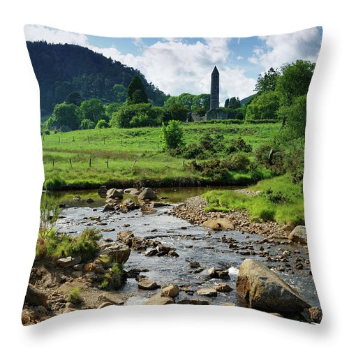 Scenics Throw Pillow featuring the photograph Glendalough Creek With The Old Monastic by Mammuth