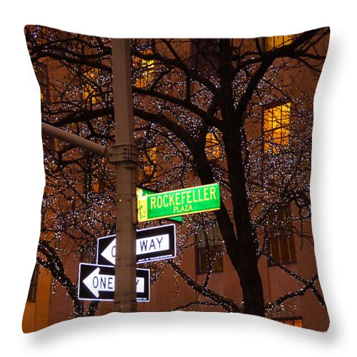 Rockefeller Plaza Throw Pillow featuring the photograph Glistening Branches On The Plaza by Terry Wallace