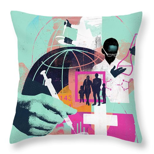 Adult Throw Pillow featuring the photograph Global Science And Medicine Montage by Ikon Ikon Images