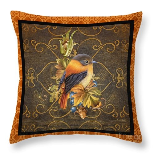 Jean Plout Throw Pillow featuring the painting Glorious Birds-a2 by Jean Plout