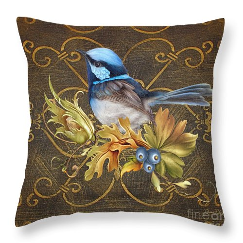 Jean Plout Throw Pillow featuring the painting Glorious Birds-b by Jean Plout