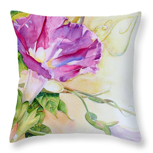 Flower Throw Pillow featuring the painting Glorious Morning by Deb Harclerode