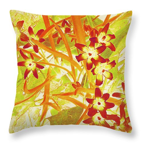 Chionodoxa Throw Pillow featuring the photograph Glory Of The Snow - Lime Green And Orange by Shawna Rowe