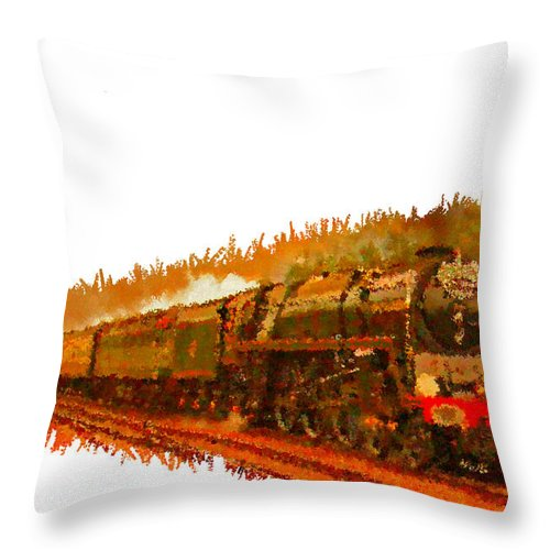 Gold Throw Pillow featuring the painting Glory Train To Heaven by Bruce Nutting