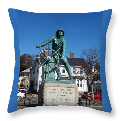 Statue Throw Pillow featuring the photograph Gloucester Fisherman by Catherine Gagne
