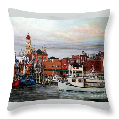 Gloucester Throw Pillow featuring the painting Gloucester Harbor by Eileen Patten Oliver