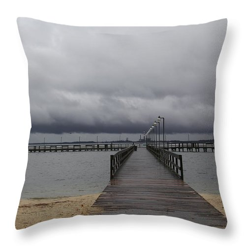 Clouds Throw Pillow featuring the photograph Gloucester Point Pier by Richard Clark