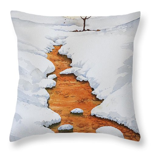 Landscapes Throw Pillow featuring the painting Glow In The Snow by Marisa Gabetta