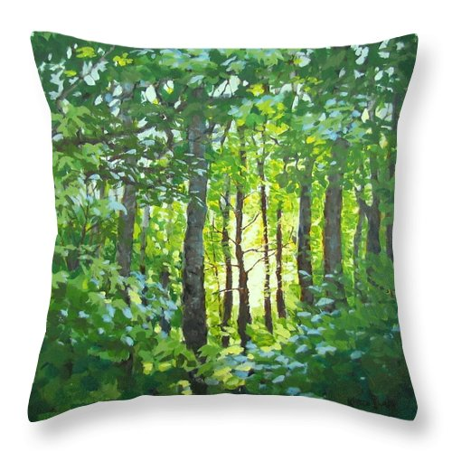 Landscape Throw Pillow featuring the painting Glow by Karen Ilari