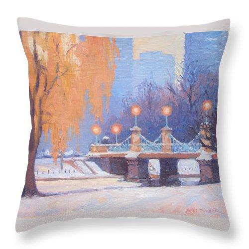 Boston Throw Pillow featuring the painting Glow On The Bridge by Dianne Panarelli Miller