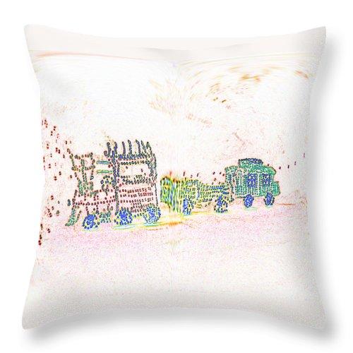 Digital Art Throw Pillow featuring the photograph Glowing Choo Choo Invert by Marian Bell