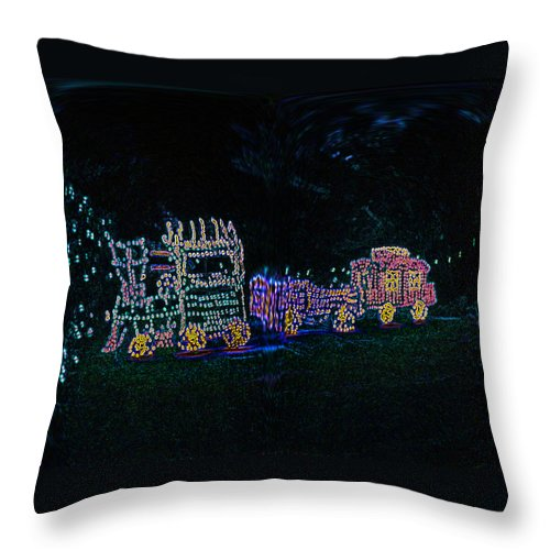 Digital Art Throw Pillow featuring the photograph Glowing Choo Choo by Marian Bell