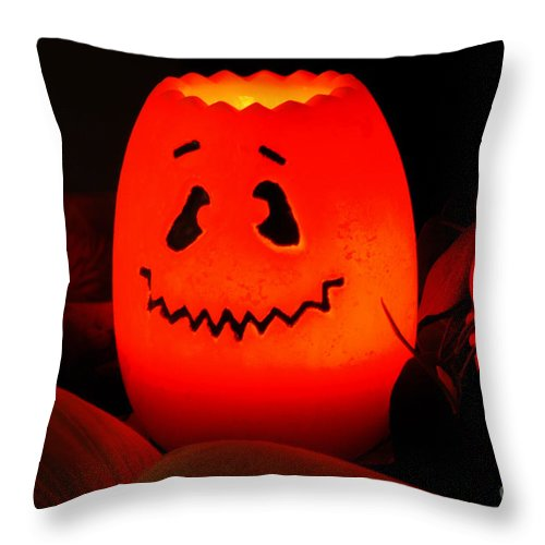 Halloween Throw Pillow featuring the photograph Glowing Pumpkin by Dale Powell