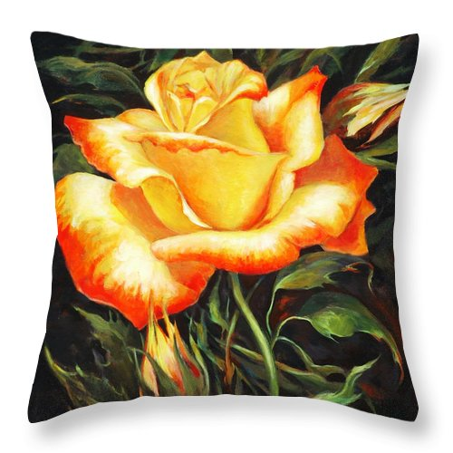 Rose Throw Pillow featuring the painting Glowing Rose 2 by Ekaterina Mortensen