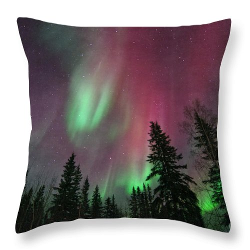 Northern Lights Throw Pillow featuring the photograph Glowing Skies Textured by Priska Wettstein