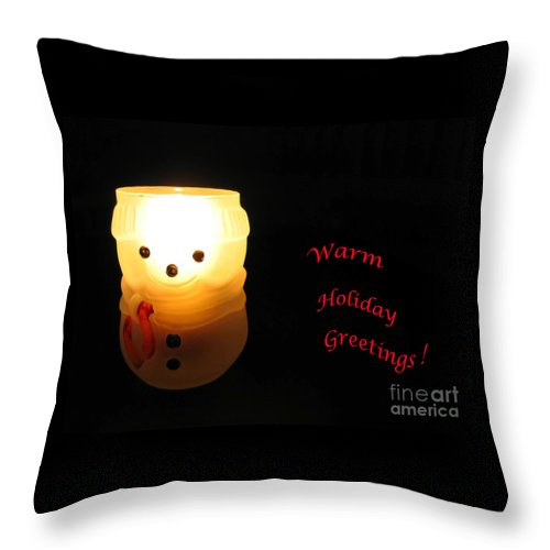 Snowman Throw Pillow featuring the photograph Glowing Snowman by Ann Horn