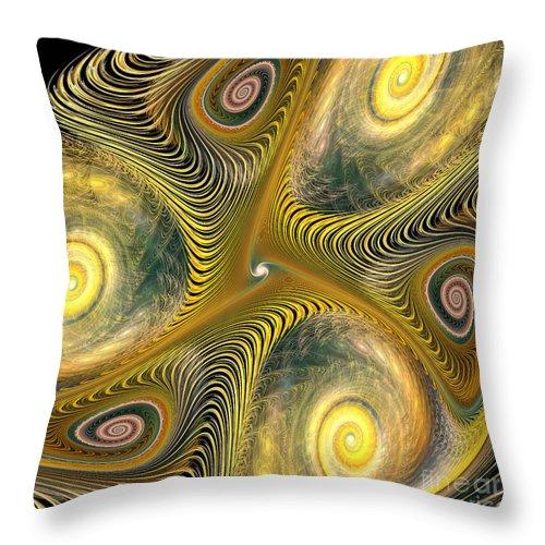 Gnarl Throw Pillow featuring the digital art Gnarl Of Gold by Deborah Benoit