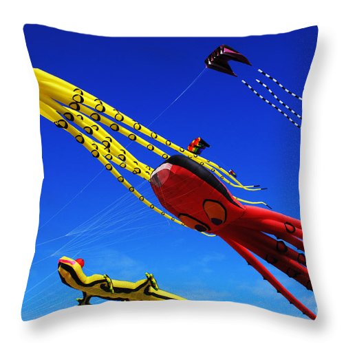 Kite Throw Pillow featuring the photograph Go Fly A Kite 7 by Bob Christopher