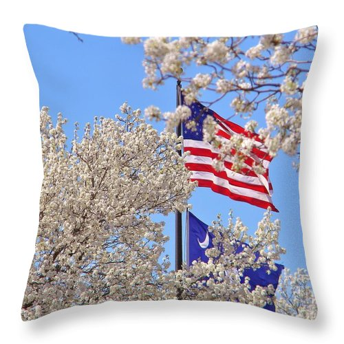Card Throw Pillow featuring the digital art God Bless America March 2014 by Matthew Seufer