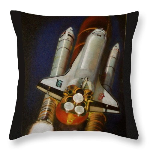 Space Shuttle;launch;liftoff;blastoff;rockets;engines;astronauts;spaceart;nasa;photorealism Throw Pillow featuring the painting God Plays Dice by Sean Connolly