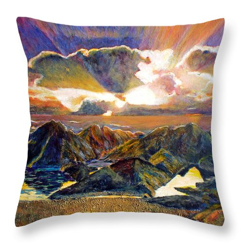 Seascape Throw Pillow featuring the painting God Speaking by Michael Durst