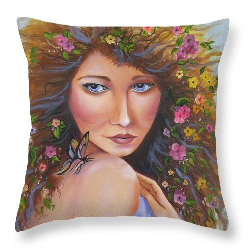 Woman Throw Pillow featuring the painting Spring Beauty by Lora Duguay