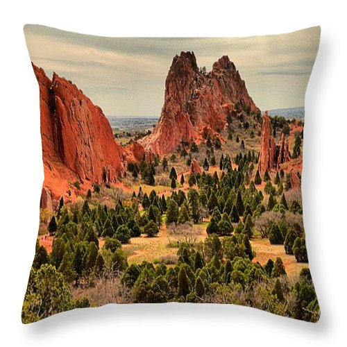 Garden Of The Gods Throw Pillow featuring the photograph Gods Garden In Colorado by Adam Jewell