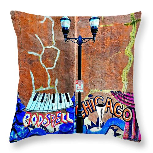 Urban Street Life Throw Pillow featuring the photograph Godspell by Diana Angstadt