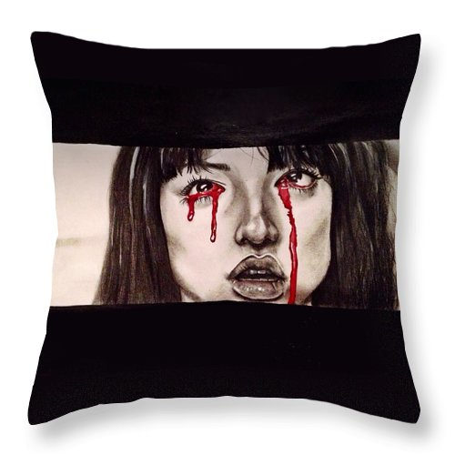 Gogo Yubari Throw Pillow featuring the drawing Gogo Without Text by Becca Ainley