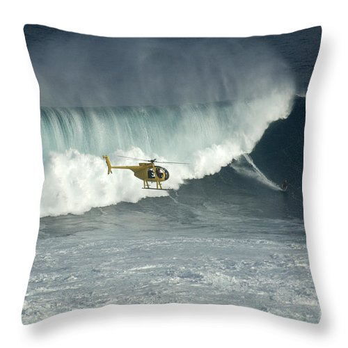 Surf Throw Pillow featuring the photograph Going Left At Jaws by Bob Christopher