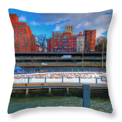 Traffic Throw Pillow featuring the photograph Going Left Going Right by Mike Deutsch