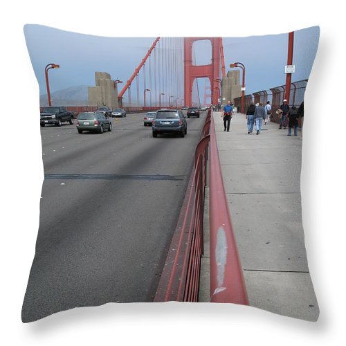 Bridge Throw Pillow featuring the photograph Going North On Golden Gate Bridge by Christiane Schulze Art And Photography