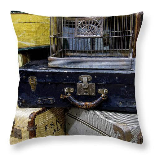 Suitcase Throw Pillow featuring the photograph Going Somewhere by Rebecca Renfro