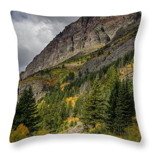 Glacier National Park Throw Pillow featuring the photograph Going To The Sun Road by Greg Nyquist