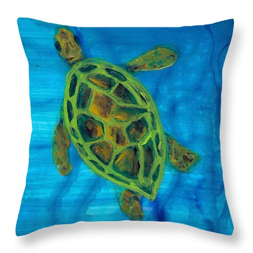 Turtle Throw Pillow featuring the painting Going Up For Air by Wanda Pepin
