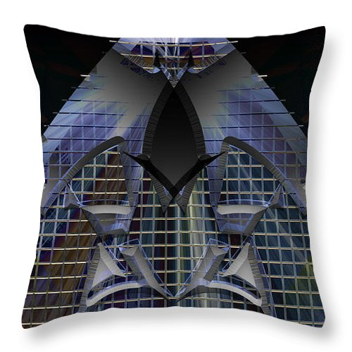 Geometric Abstract Throw Pillow featuring the digital art Going Up by Warren Furman