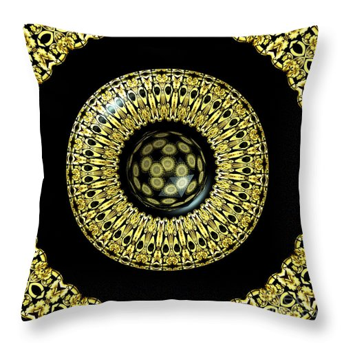 Stained Glass Throw Pillow featuring the photograph Gold And Black Stained Glass Kaleidoscope Under Glass by Rose Santuci-Sofranko