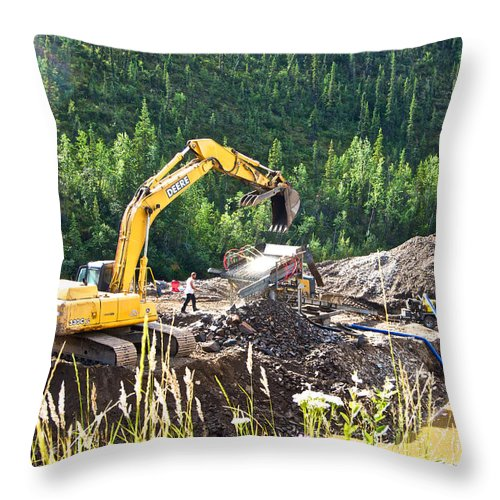 Gold At The End Of The Rainbow Along Taylor Highway Throw Pillow featuring the photograph Gold At The End Of The Rainbow Along Taylor Highway-ak by Ruth Hager
