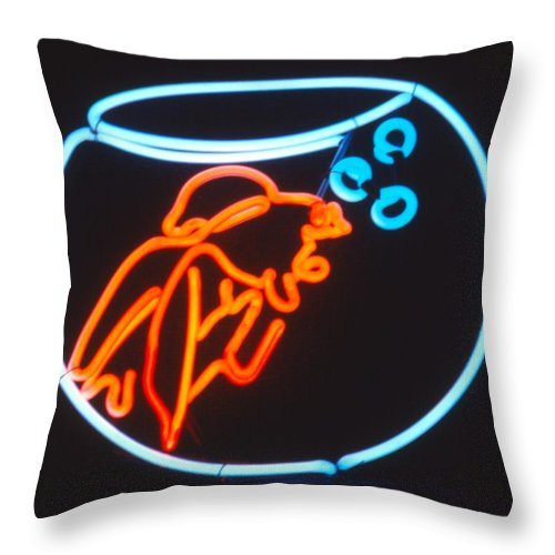 Neon Throw Pillow featuring the sculpture Gold Fish In Bowl by Pacifico Palumbo