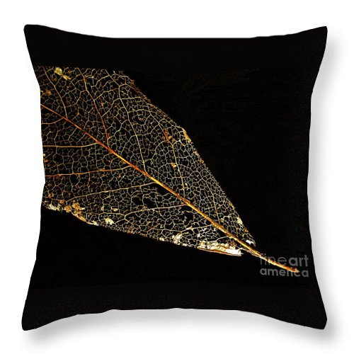 Leaf Throw Pillow featuring the photograph Gold Leaf by Ann Horn