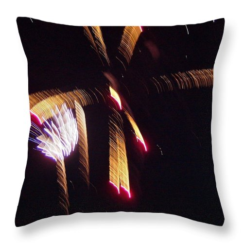 Gold Throw Pillow featuring the photograph Gold Leafy Firework by Susan Wyman