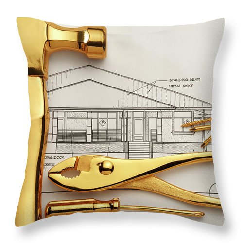 Plan Throw Pillow featuring the photograph Gold Plated Tools And Blueprints by Dny59