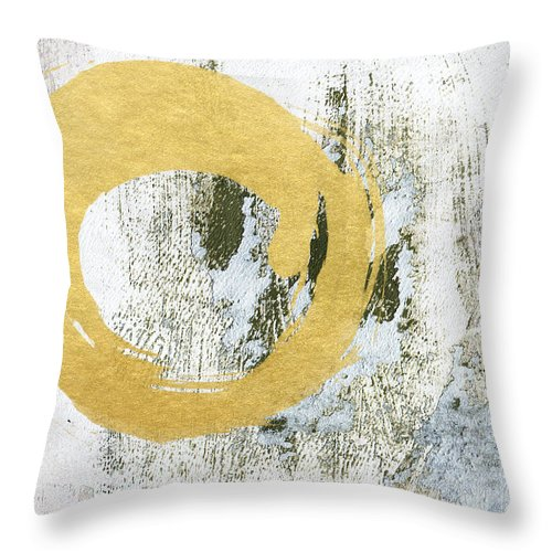 Gold Throw Pillow featuring the painting Gold Rush - Abstract Art by Linda Woods
