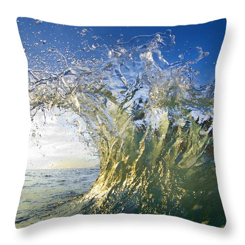 Crashing Wave Throw Pillow featuring the photograph Gold Crown by Sean Davey