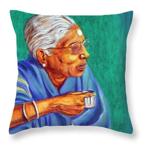 Usha Throw Pillow featuring the painting Golden Age 2 by Usha Shantharam