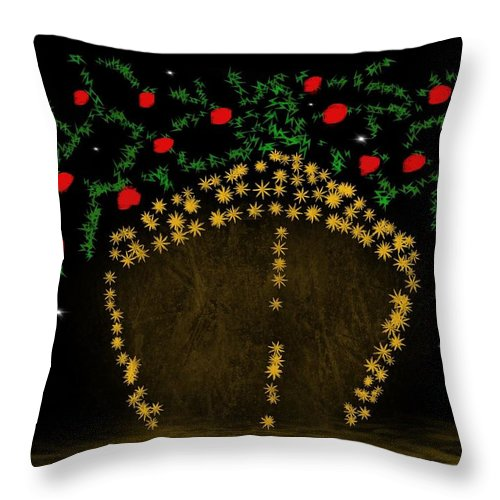 Inspirational Throw Pillow featuring the digital art Golden Apple Ship by Isaac Fubara
